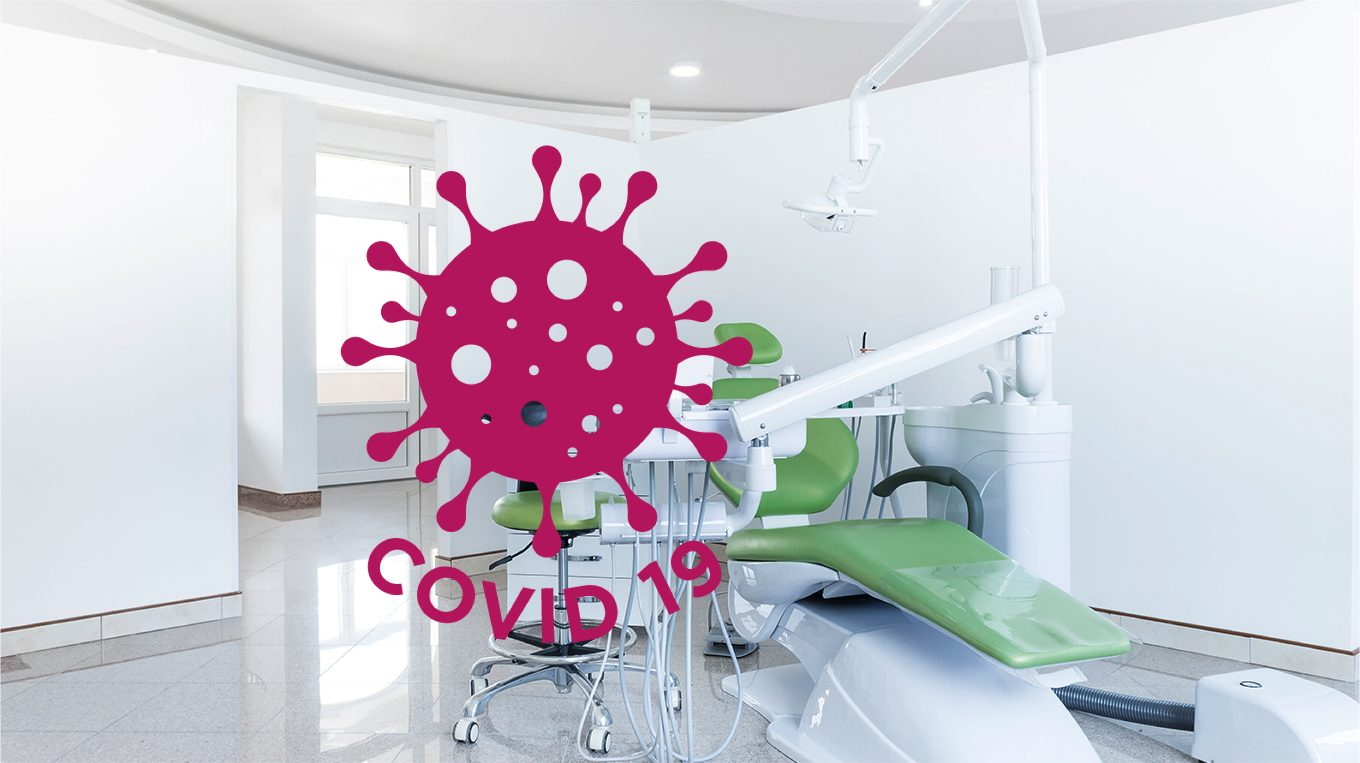 Dental office and COVID19 virus illustration